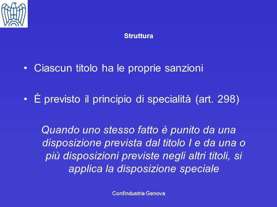 Confindustria Genova Struttura Ciascun titolo ha le proprie sanzioni È previsto il principio di specialità (art. 298) Quando uno stesso fatto è punito