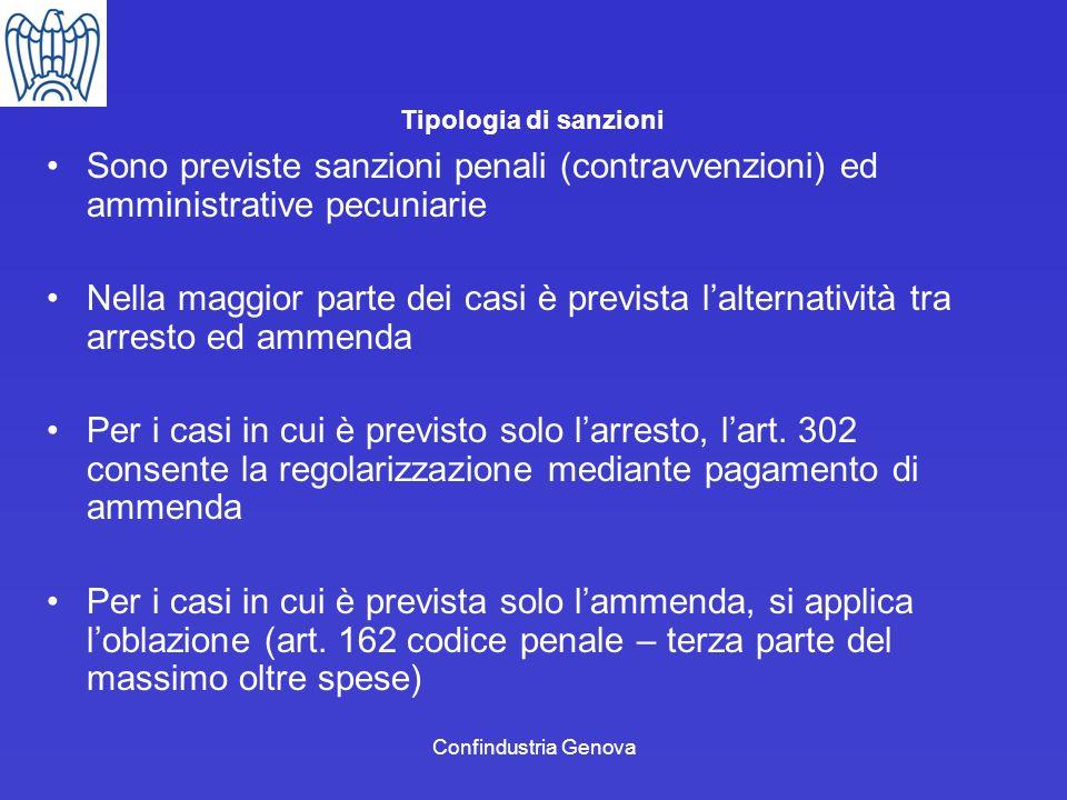 Confindustria Genova Tipologia di sanzioni Sono previste sanzioni penali (contravvenzioni) ed amministrative pecuniarie Nella maggior parte dei casi è