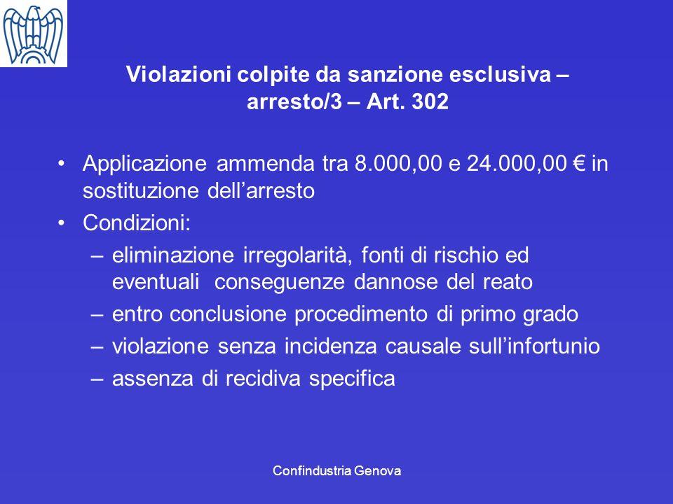 Confindustria Genova Violazioni colpite da sanzione esclusiva – arresto/3 – Art. 302 Applicazione ammenda tra 8.000,00 e 24.000,00 in sostituzione del