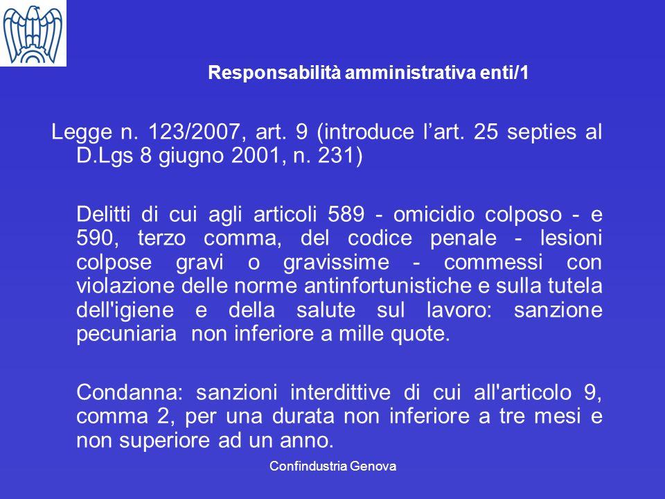 Confindustria Genova Responsabilità amministrativa enti/1 Legge n. 123/2007, art. 9 (introduce lart. 25 septies al D.Lgs 8 giugno 2001, n. 231) Delitt