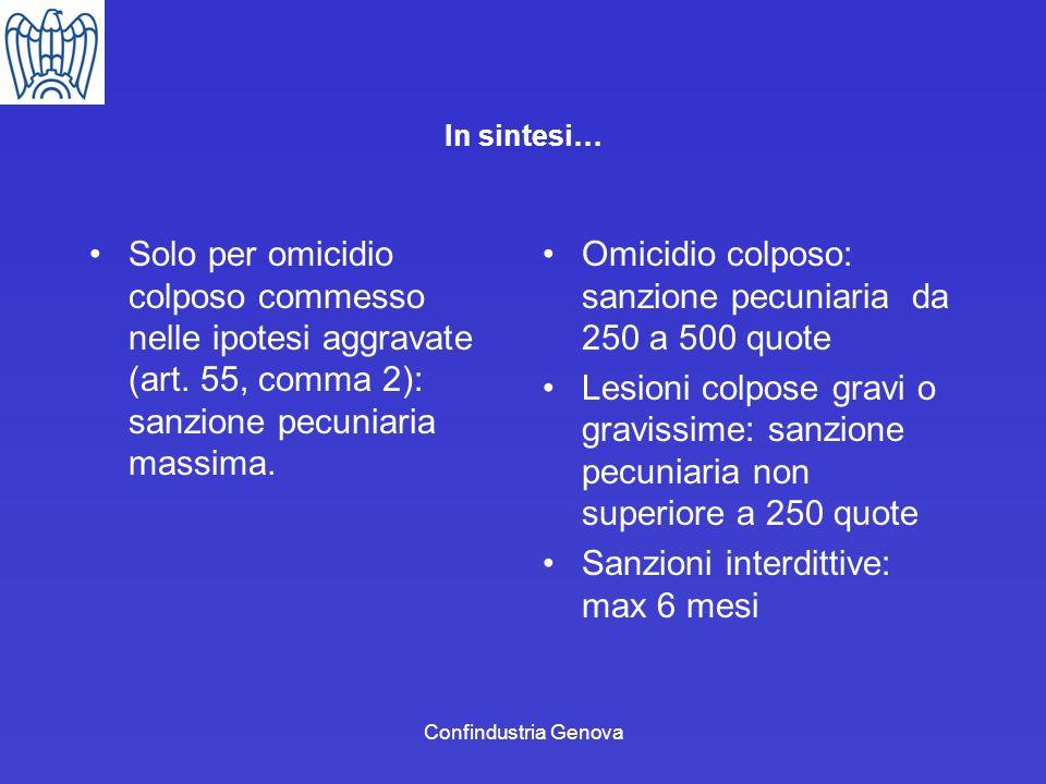 Confindustria Genova In sintesi… Solo per omicidio colposo commesso nelle ipotesi aggravate (art. 55, comma 2): sanzione pecuniaria massima. Omicidio