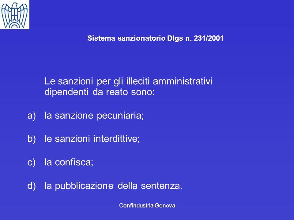Confindustria Genova Sistema sanzionatorio Dlgs n. 231/2001 Le sanzioni per gli illeciti amministrativi dipendenti da reato sono: a)la sanzione pecuni