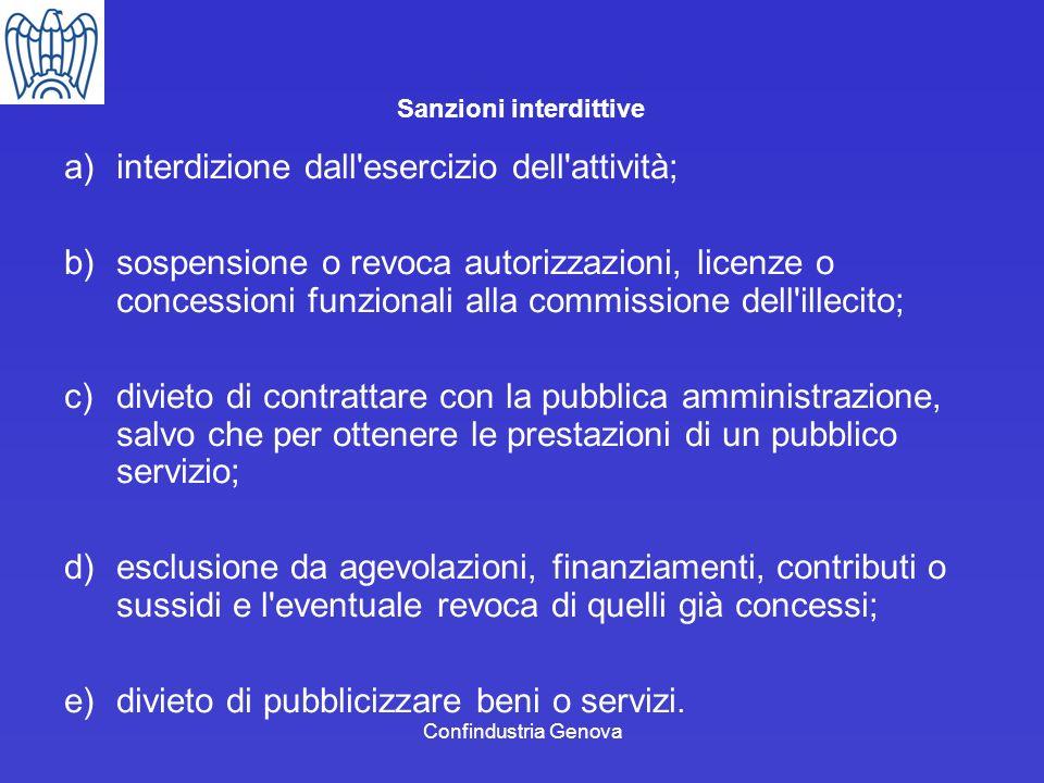 Confindustria Genova Sanzioni interdittive a)interdizione dall'esercizio dell'attività; b)sospensione o revoca autorizzazioni, licenze o concessioni f