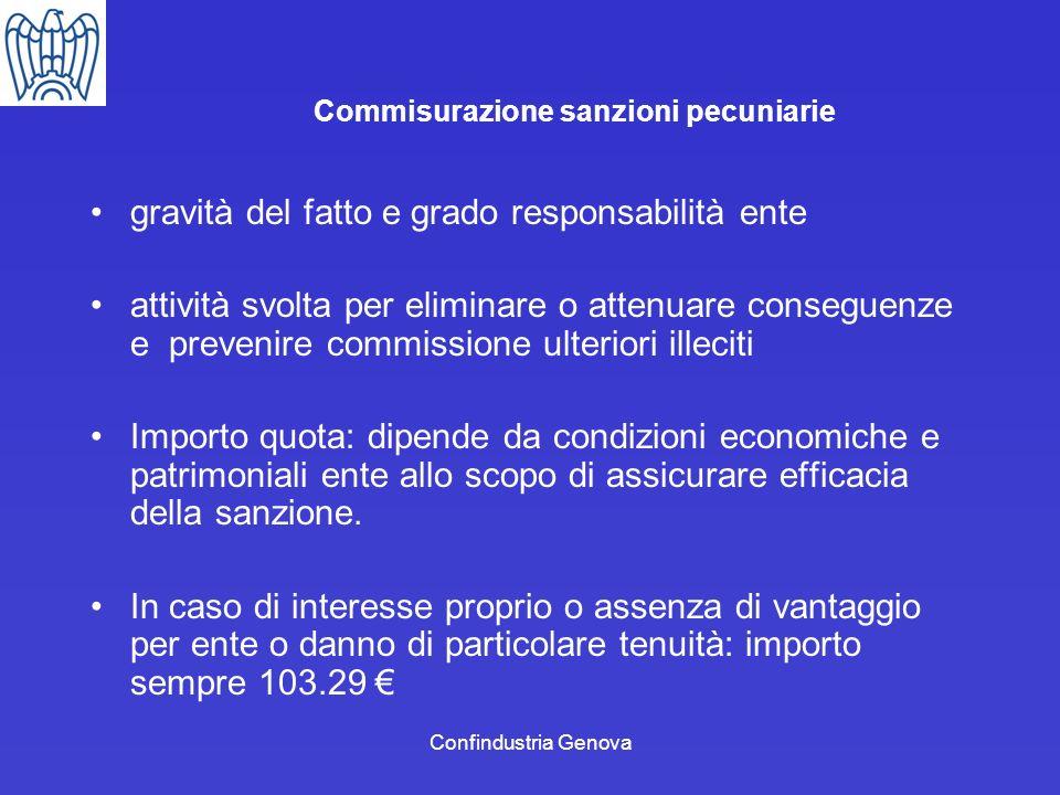 Confindustria Genova Commisurazione sanzioni pecuniarie gravità del fatto e grado responsabilità ente attività svolta per eliminare o attenuare conseg