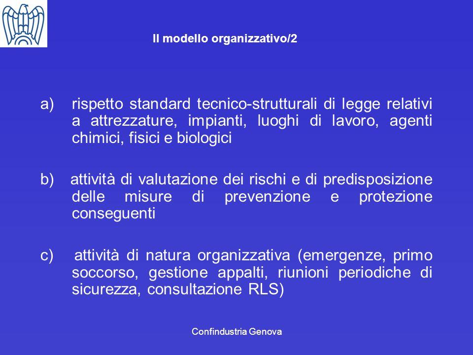 Confindustria Genova Il modello organizzativo/2 a)rispetto standard tecnico-strutturali di legge relativi a attrezzature, impianti, luoghi di lavoro,