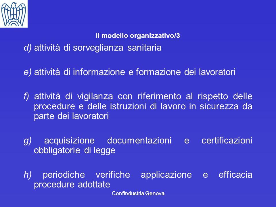 Confindustria Genova Il modello organizzativo/3 d) attività di sorveglianza sanitaria e) attività di informazione e formazione dei lavoratori f) attiv