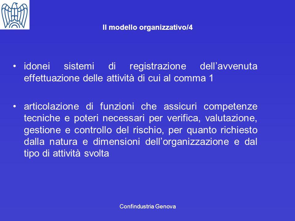 Confindustria Genova Il modello organizzativo/4 idonei sistemi di registrazione dellavvenuta effettuazione delle attività di cui al comma 1 articolazi