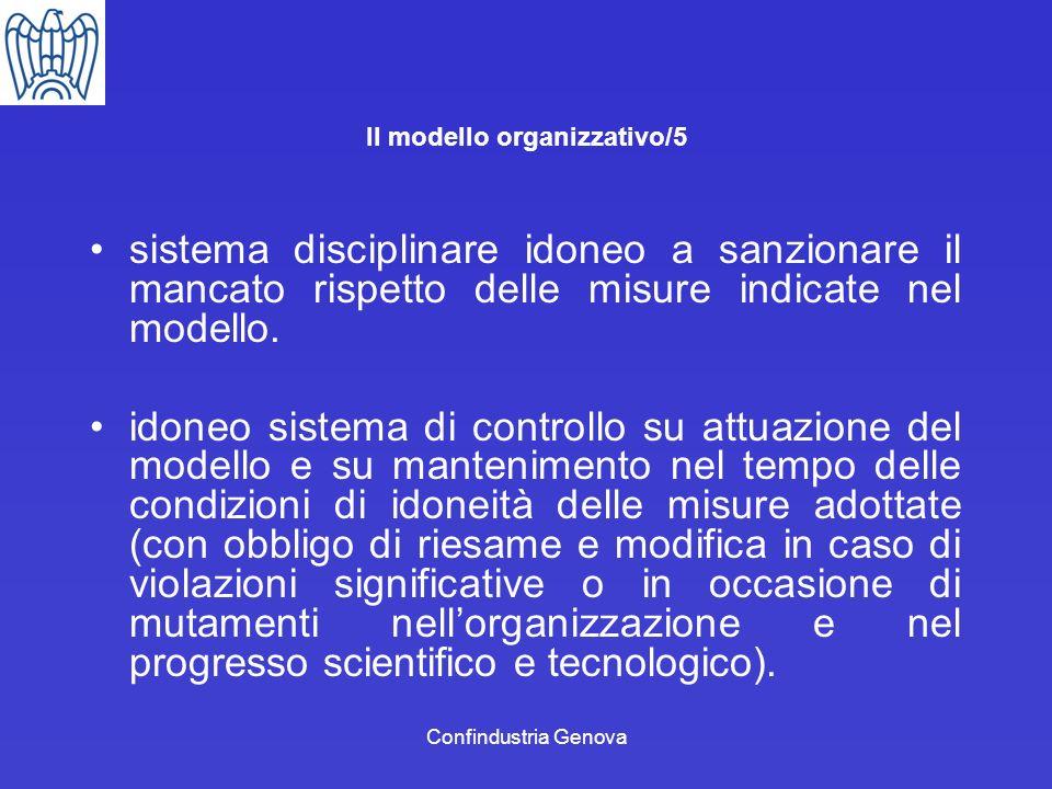Confindustria Genova Il modello organizzativo/5 sistema disciplinare idoneo a sanzionare il mancato rispetto delle misure indicate nel modello. idoneo