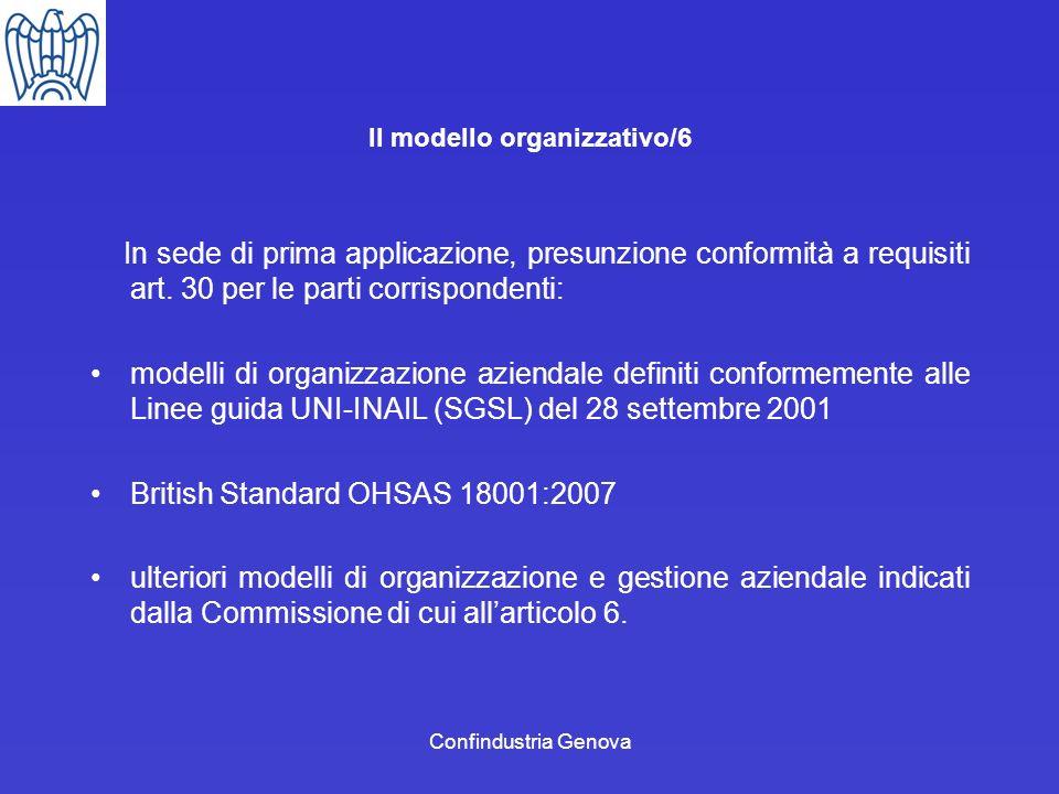 Confindustria Genova Il modello organizzativo/6 In sede di prima applicazione, presunzione conformità a requisiti art. 30 per le parti corrispondenti: