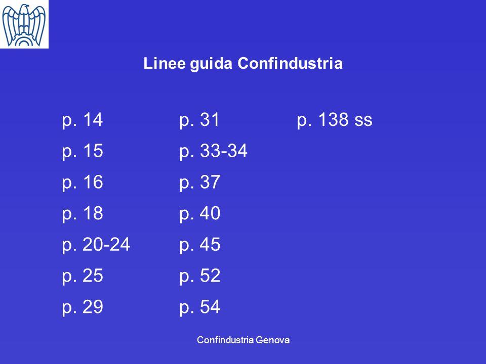 Confindustria Genova Linee guida Confindustria p. 14p. 31p. 138 ss p. 15p. 33-34 p. 16p. 37 p. 18p. 40 p. 20-24p. 45 p. 25p. 52 p. 29p. 54