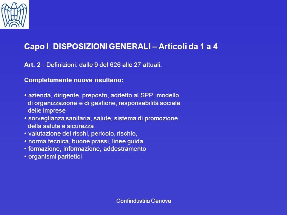 Confindustria Genova Capo I: DISPOSIZIONI GENERALI – Articoli da 1 a 4 Art. 2 - Definizioni: dalle 9 del 626 alle 27 attuali. Completamente nuove risu