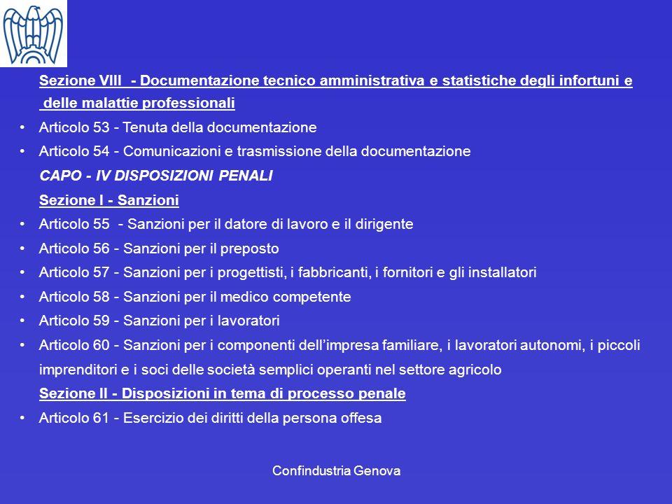 Confindustria Genova Sezione VIII - Documentazione tecnico amministrativa e statistiche degli infortuni e delle malattie professionali Articolo 53 - T