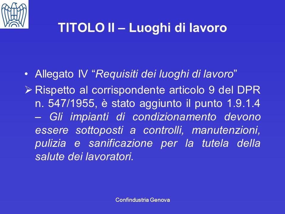Confindustria Genova TITOLO II – Luoghi di lavoro Allegato IV Requisiti dei luoghi di lavoro Rispetto al corrispondente articolo 9 del DPR n. 547/1955