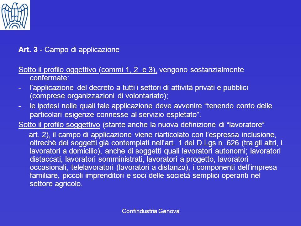 Confindustria Genova Art. 3 - Campo di applicazione Sotto il profilo oggettivo (commi 1, 2 e 3), vengono sostanzialmente confermate: -lapplicazione de