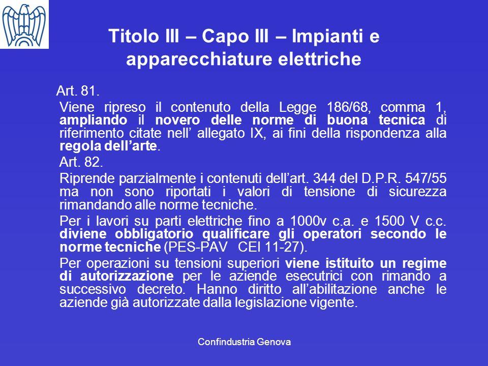 Confindustria Genova Titolo III – Capo III – Impianti e apparecchiature elettriche Art. 81. Viene ripreso il contenuto della Legge 186/68, comma 1, am