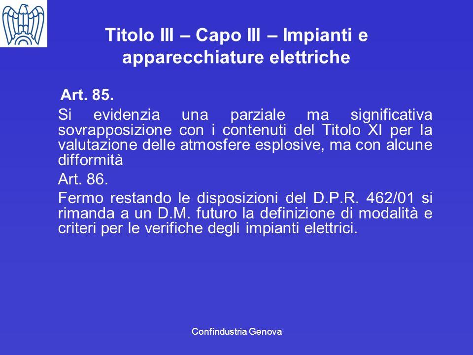 Confindustria Genova Titolo III – Capo III – Impianti e apparecchiature elettriche Art. 85. Si evidenzia una parziale ma significativa sovrapposizione