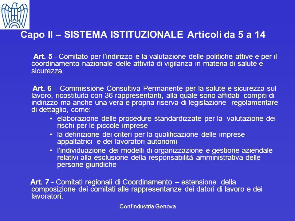 Confindustria Genova Capo II – SISTEMA ISTITUZIONALE Articoli da 5 a 14 Art. 5 - Comitato per lindirizzo e la valutazione delle politiche attive e per