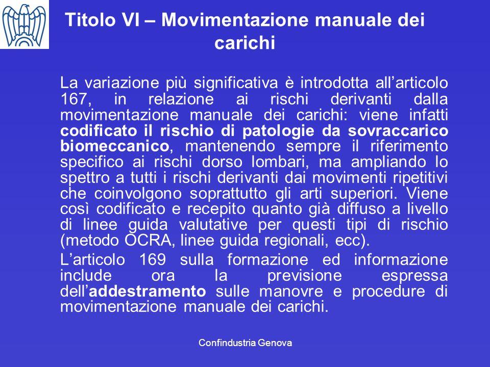 Confindustria Genova Titolo VI – Movimentazione manuale dei carichi La variazione più significativa è introdotta allarticolo 167, in relazione ai risc