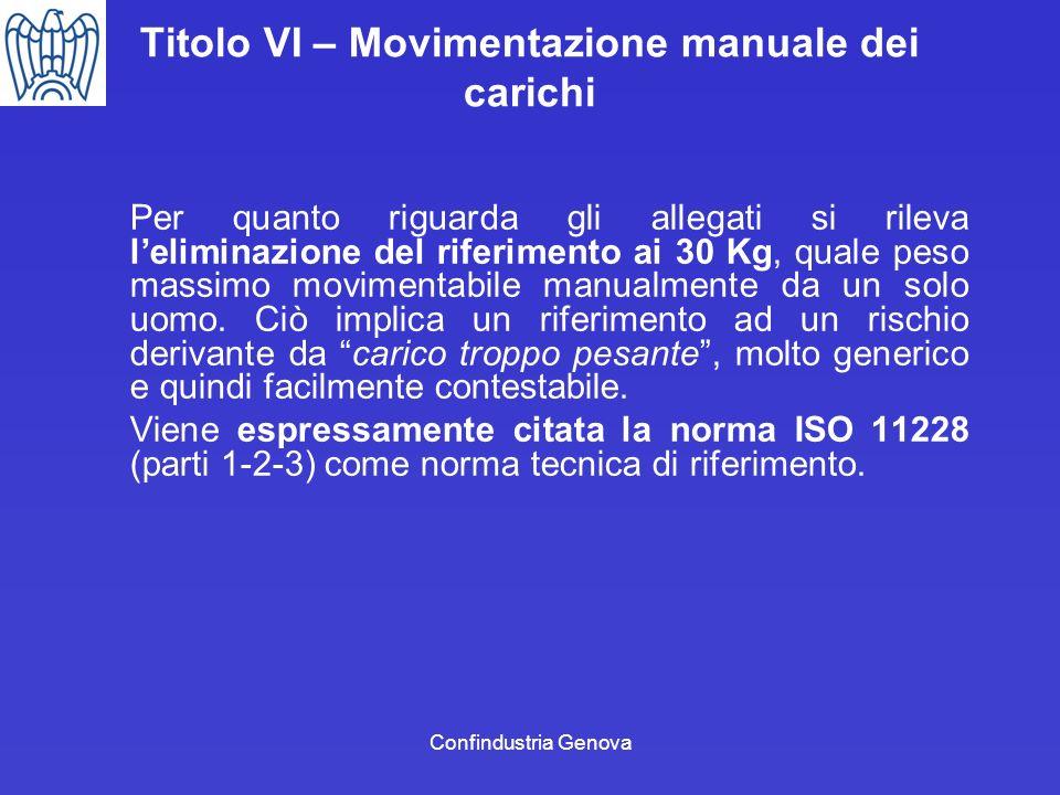 Confindustria Genova Titolo VI – Movimentazione manuale dei carichi Per quanto riguarda gli allegati si rileva leliminazione del riferimento ai 30 Kg,