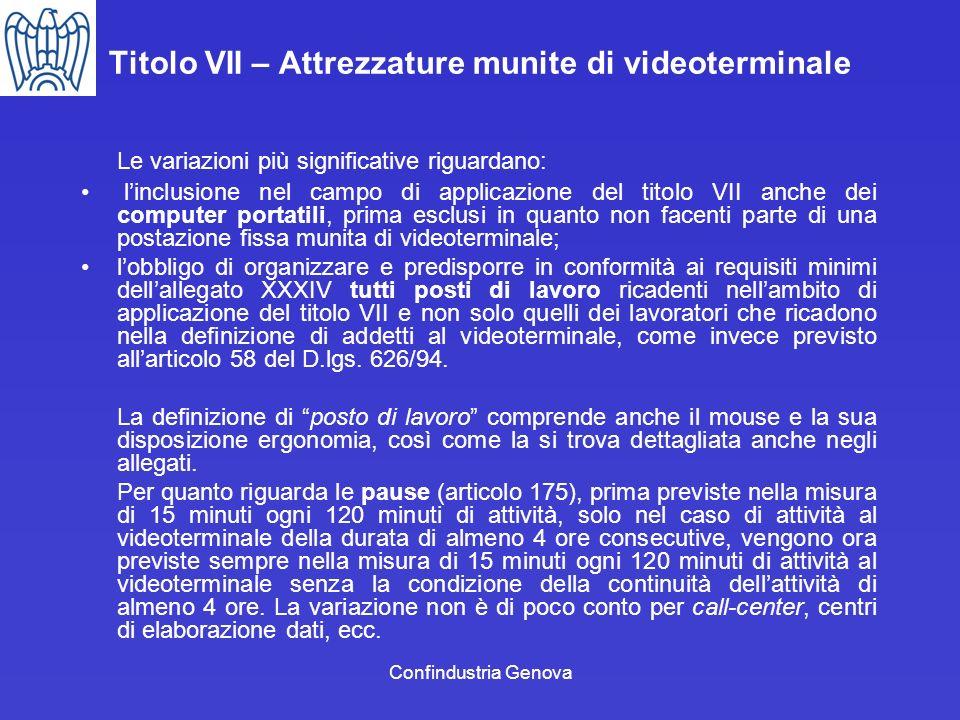 Confindustria Genova Titolo VII – Attrezzature munite di videoterminale Le variazioni più significative riguardano: linclusione nel campo di applicazi