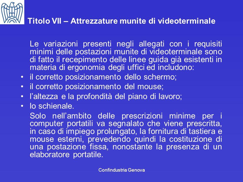 Confindustria Genova Titolo VII – Attrezzature munite di videoterminale Le variazioni presenti negli allegati con i requisiti minimi delle postazioni