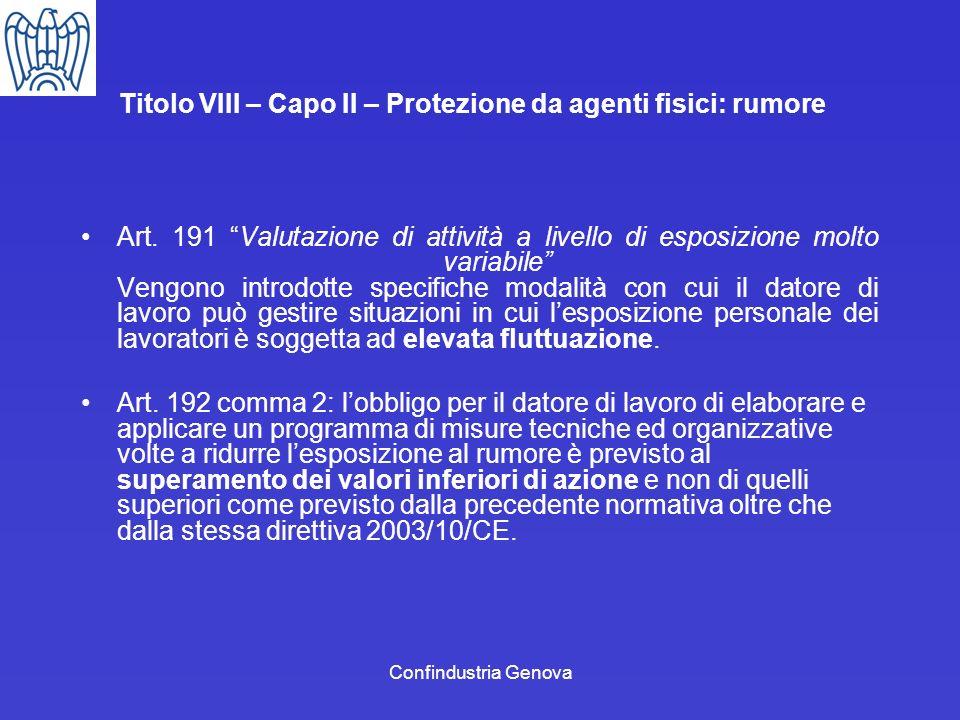 Confindustria Genova Titolo VIII – Capo II – Protezione da agenti fisici: rumore Art. 191 Valutazione di attività a livello di esposizione molto varia