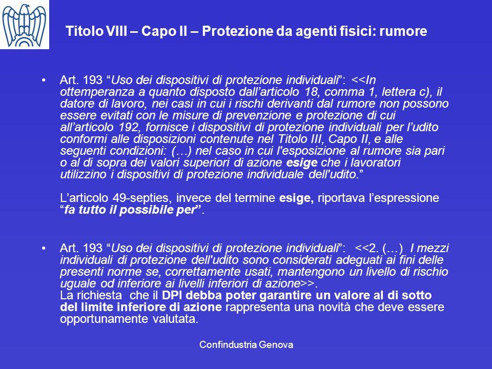 Confindustria Genova Titolo VIII – Capo II – Protezione da agenti fisici: rumore Art. 193 Uso dei dispositivi di protezione individuali: <<In ottemper
