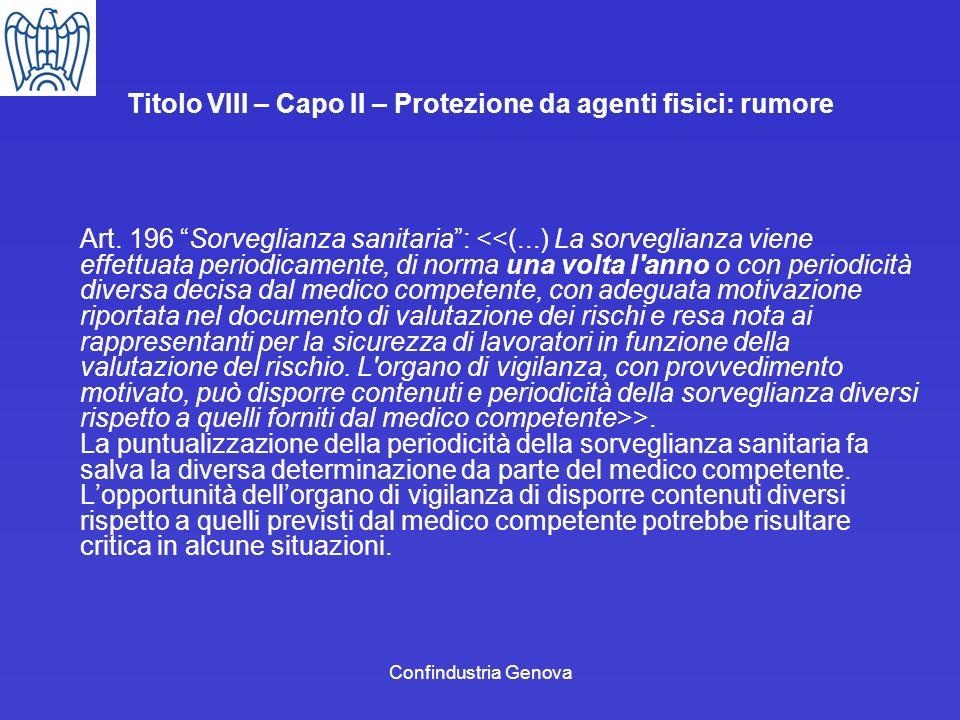 Confindustria Genova Titolo VIII – Capo II – Protezione da agenti fisici: rumore Art. 196 Sorveglianza sanitaria: >. La puntualizzazione della periodi