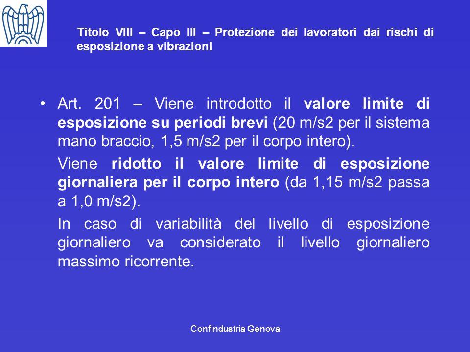 Confindustria Genova Titolo VIII – Capo III – Protezione dei lavoratori dai rischi di esposizione a vibrazioni Art. 201 – Viene introdotto il valore l