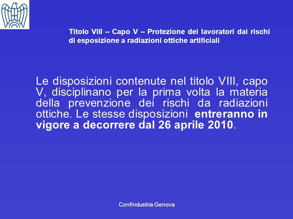 Confindustria Genova Titolo VIII – Capo V – Protezione dei lavoratori dai rischi di esposizione a radiazioni ottiche artificiali Le disposizioni conte