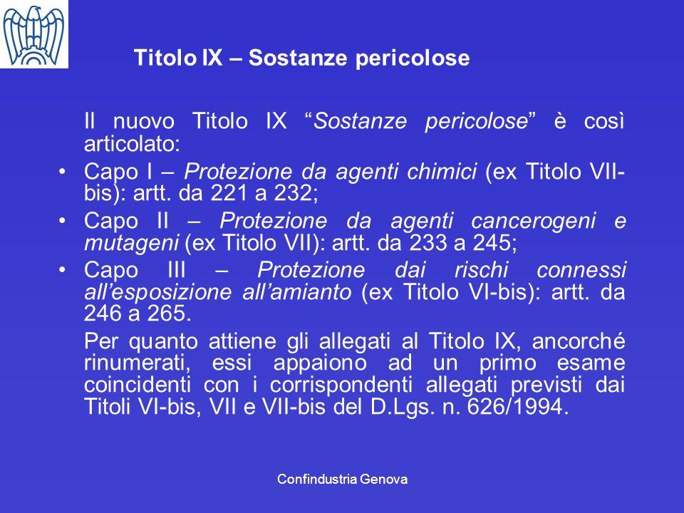 Confindustria Genova Titolo IX – Sostanze pericolose Il nuovo Titolo IX Sostanze pericolose è così articolato: Capo I – Protezione da agenti chimici (