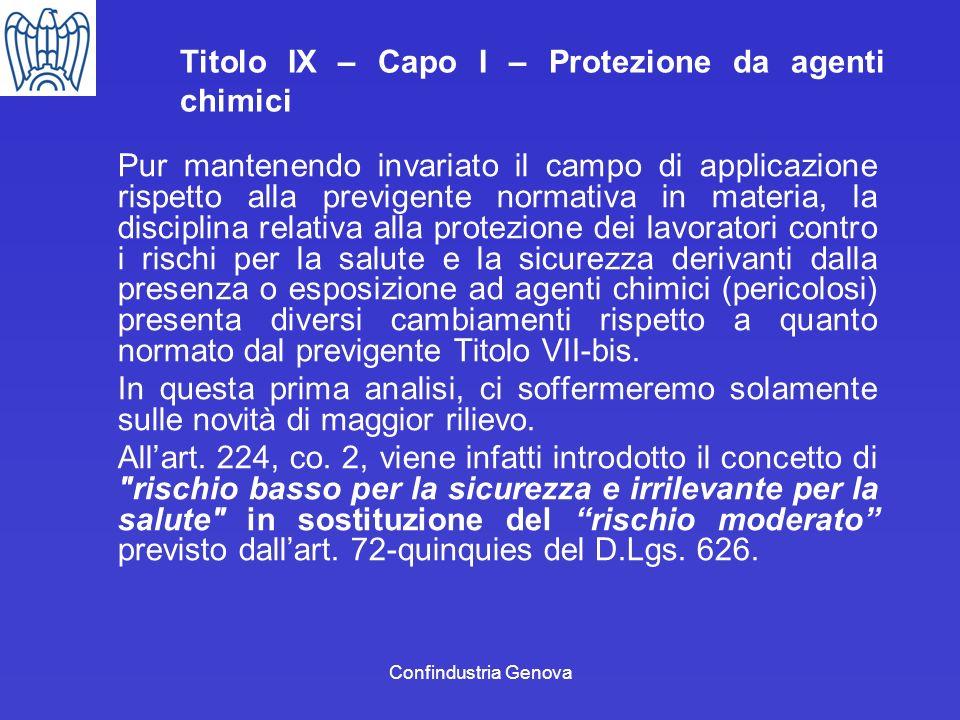 Confindustria Genova Titolo IX – Capo I – Protezione da agenti chimici Pur mantenendo invariato il campo di applicazione rispetto alla previgente norm