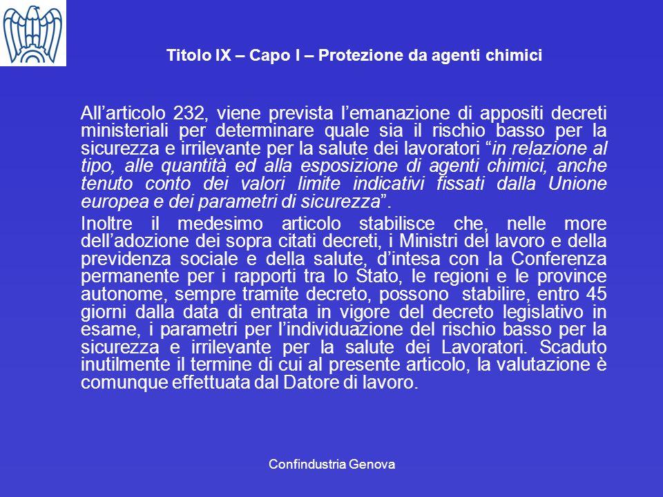 Confindustria Genova Titolo IX – Capo I – Protezione da agenti chimici Allarticolo 232, viene prevista lemanazione di appositi decreti ministeriali pe