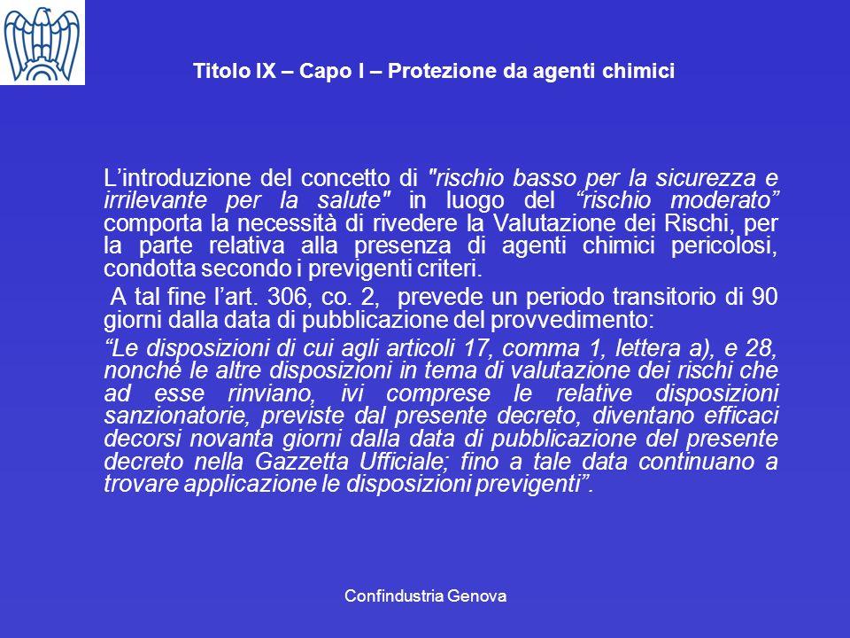Confindustria Genova Titolo IX – Capo I – Protezione da agenti chimici Lintroduzione del concetto di
