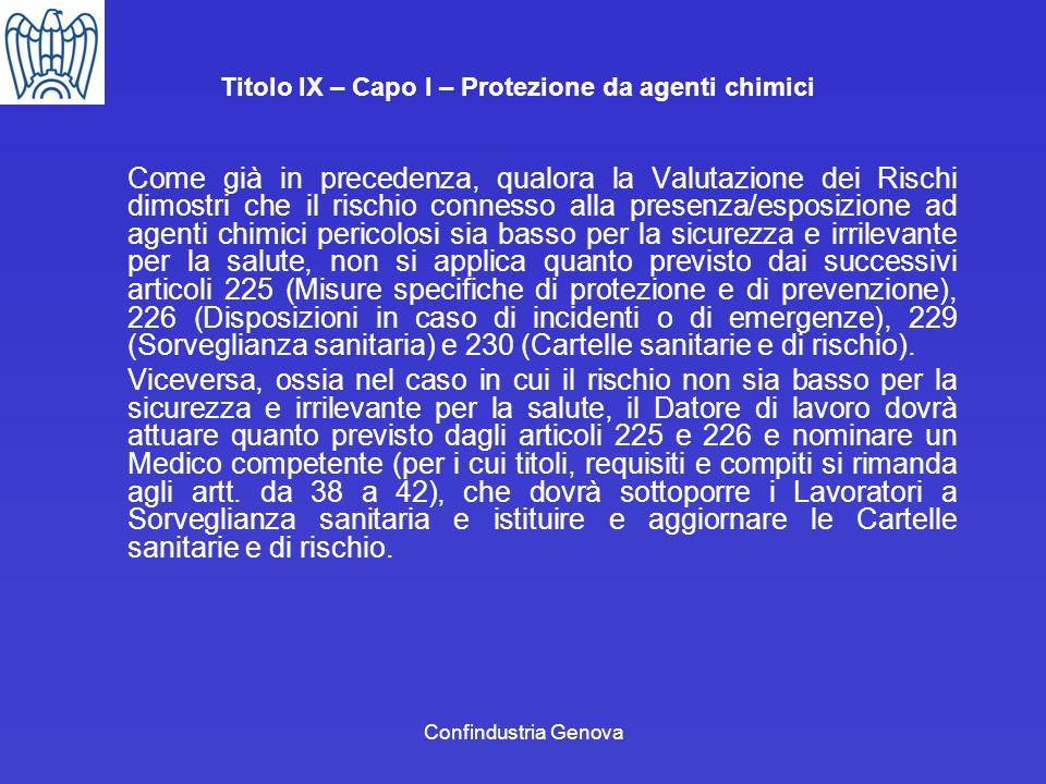Confindustria Genova Titolo IX – Capo I – Protezione da agenti chimici Come già in precedenza, qualora la Valutazione dei Rischi dimostri che il risch