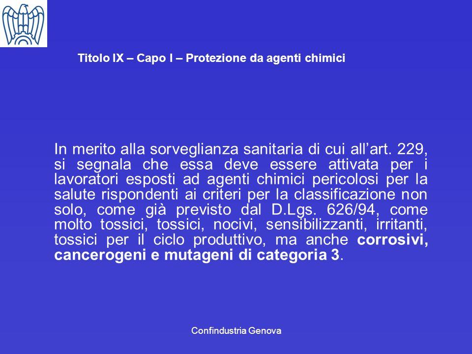 Confindustria Genova Titolo IX – Capo I – Protezione da agenti chimici In merito alla sorveglianza sanitaria di cui allart. 229, si segnala che essa d