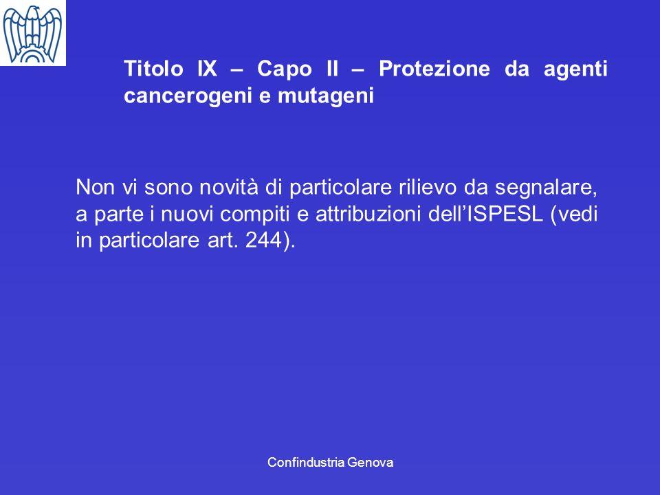 Confindustria Genova Titolo IX – Capo II – Protezione da agenti cancerogeni e mutageni Non vi sono novità di particolare rilievo da segnalare, a parte