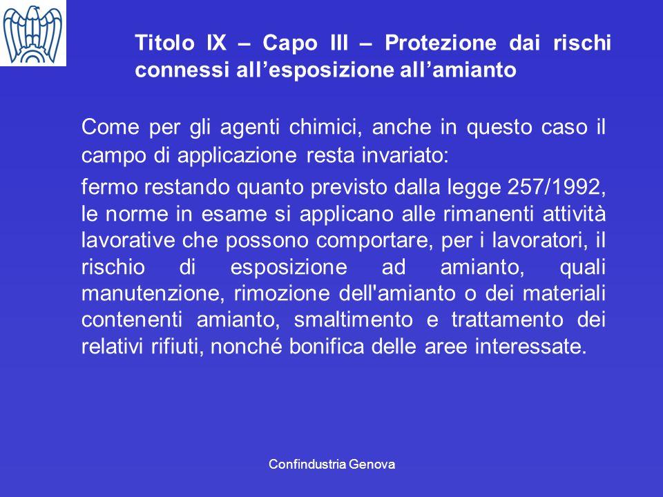 Confindustria Genova Titolo IX – Capo III – Protezione dai rischi connessi allesposizione allamianto Come per gli agenti chimici, anche in questo caso