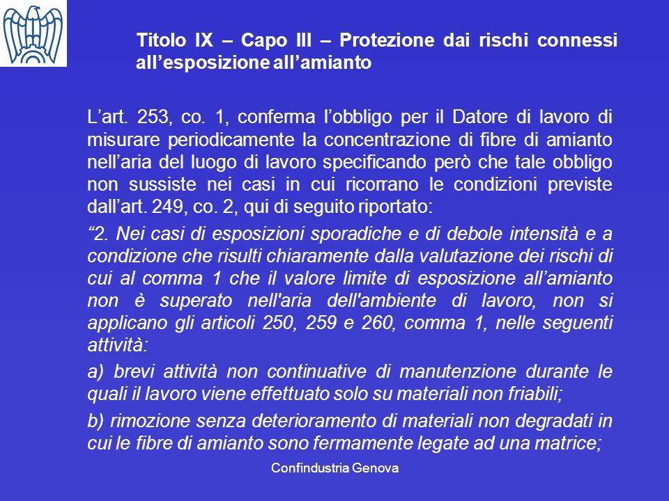 Confindustria Genova Titolo IX – Capo III – Protezione dai rischi connessi allesposizione allamianto Lart. 253, co. 1, conferma lobbligo per il Datore