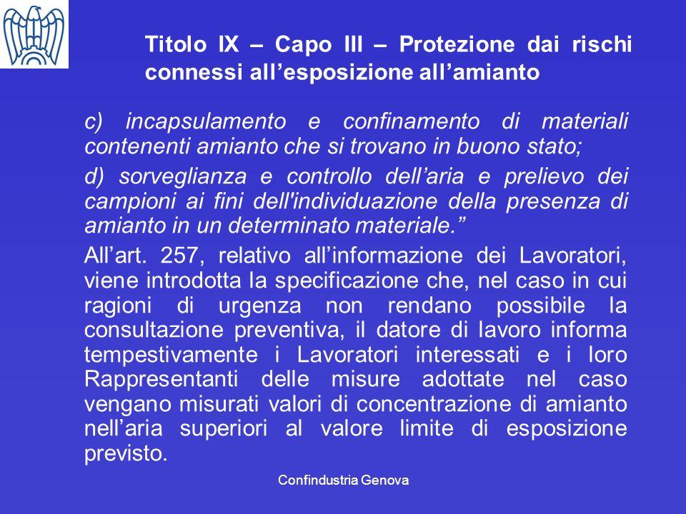 Confindustria Genova Titolo IX – Capo III – Protezione dai rischi connessi allesposizione allamianto c) incapsulamento e confinamento di materiali con