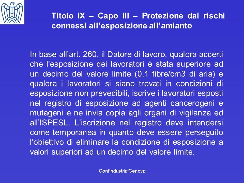 Confindustria Genova Titolo IX – Capo III – Protezione dai rischi connessi allesposizione allamianto In base allart. 260, il Datore di lavoro, qualora