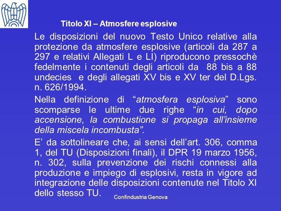 Confindustria Genova Titolo XI – Atmosfere esplosive Le disposizioni del nuovo Testo Unico relative alla protezione da atmosfere esplosive (articoli d