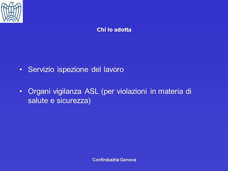 Confindustria Genova Servizio ispezione del lavoro Organi vigilanza ASL (per violazioni in materia di salute e sicurezza) Chi lo adotta