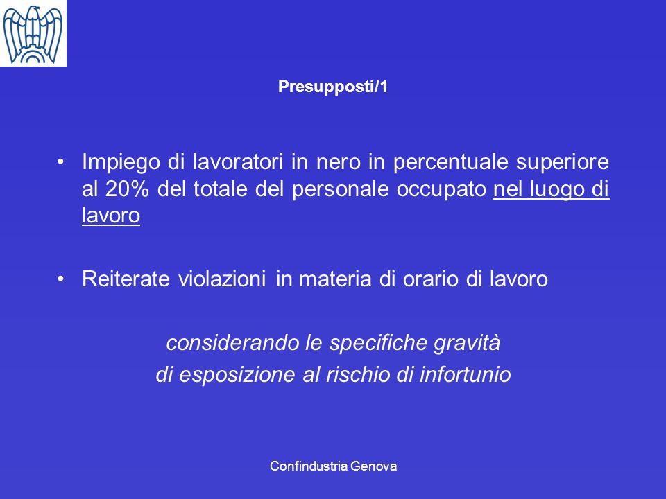 Confindustria Genova Presupposti/1 Impiego di lavoratori in nero in percentuale superiore al 20% del totale del personale occupato nel luogo di lavoro