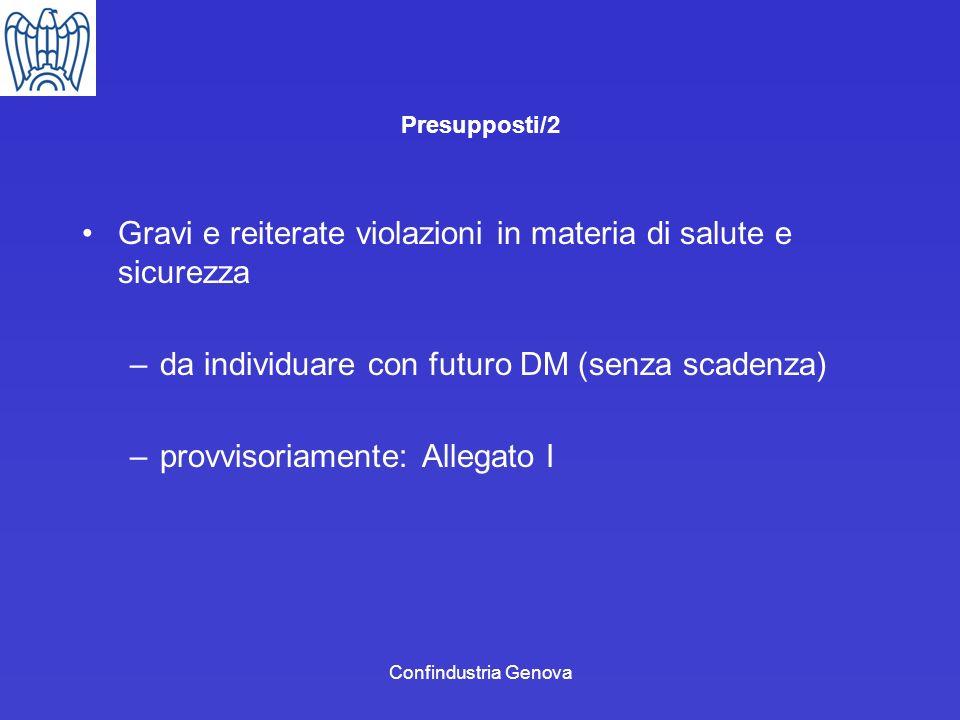 Confindustria Genova Presupposti/2 Gravi e reiterate violazioni in materia di salute e sicurezza –da individuare con futuro DM (senza scadenza) –provv