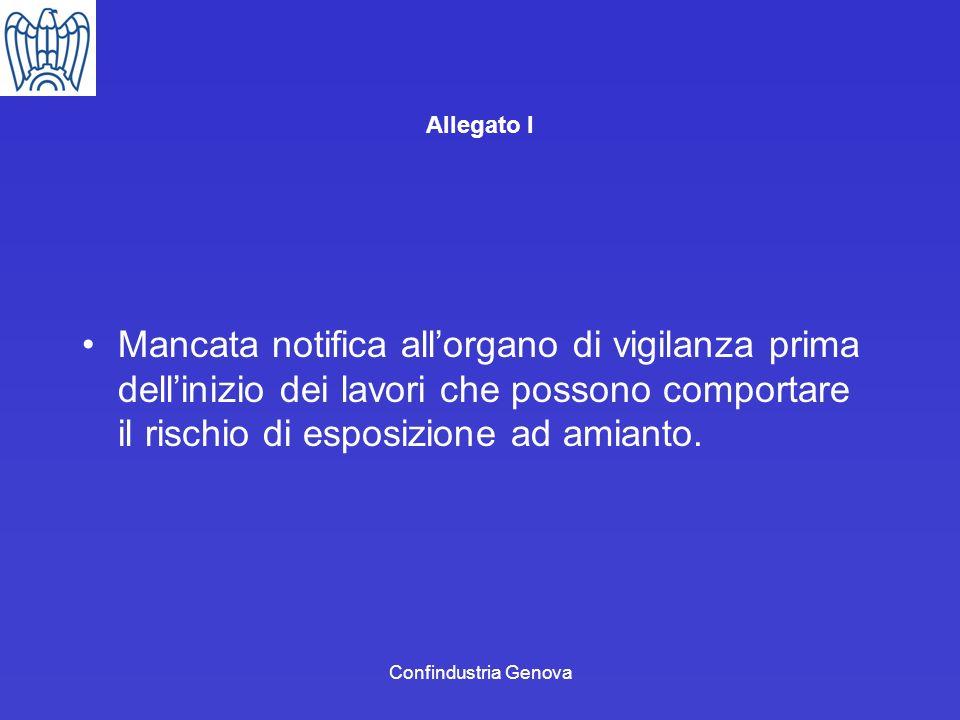 Confindustria Genova Allegato I Mancata notifica allorgano di vigilanza prima dellinizio dei lavori che possono comportare il rischio di esposizione a