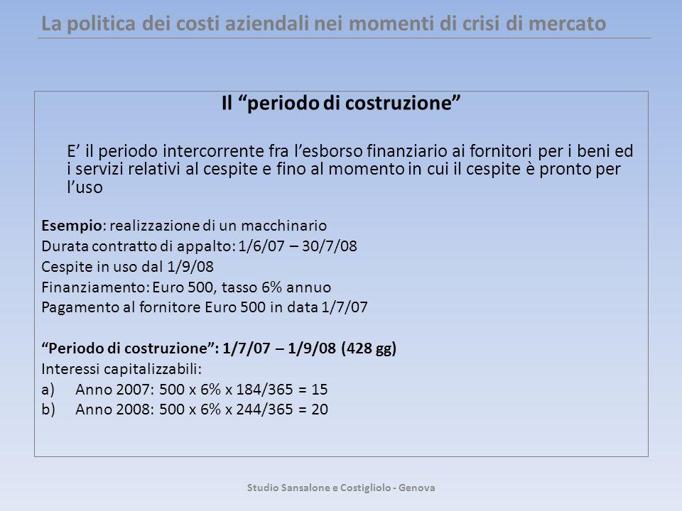 La politica dei costi aziendali nei momenti di crisi di mercato Il periodo di costruzione E il periodo intercorrente fra lesborso finanziario ai forni