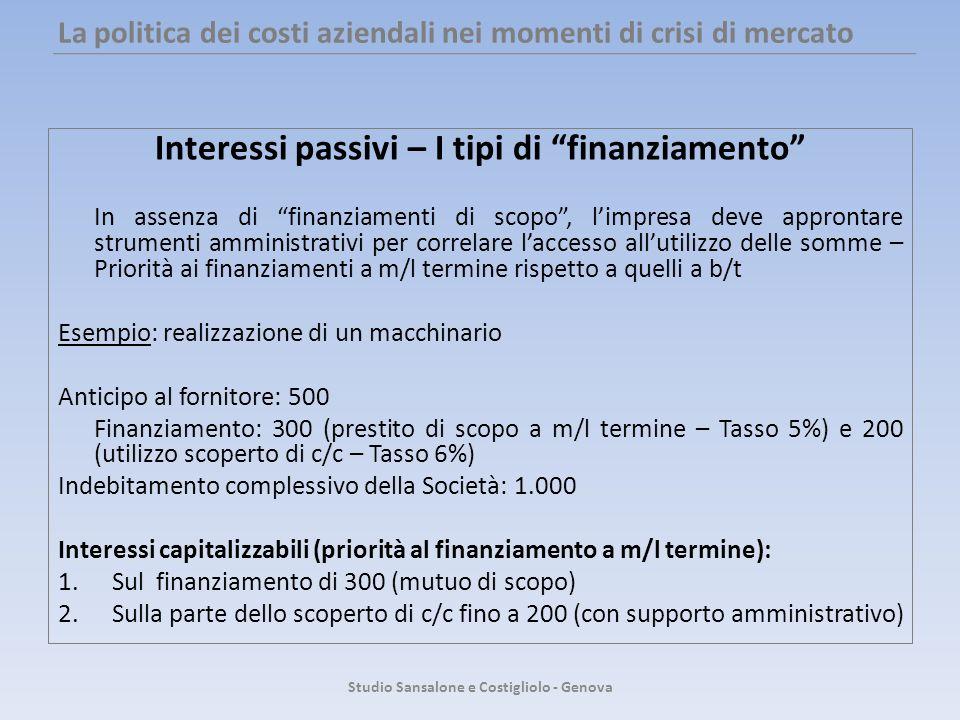 La politica dei costi aziendali nei momenti di crisi di mercato Interessi passivi – I tipi di finanziamento In assenza di finanziamenti di scopo, limp