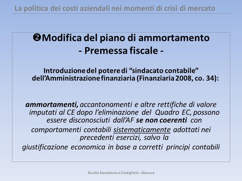 La politica dei costi aziendali nei momenti di crisi di mercato Modifica del piano di ammortamento - Premessa fiscale - Introduzione del potere di sin