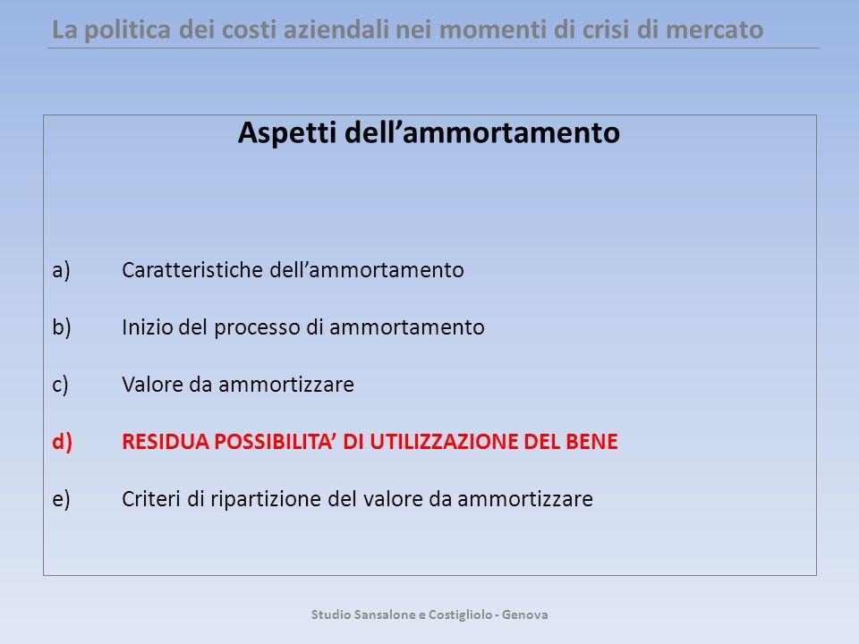La politica dei costi aziendali nei momenti di crisi di mercato Aspetti dellammortamento a)Caratteristiche dellammortamento b)Inizio del processo di a